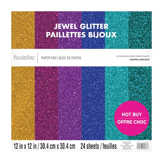 Jewel Glitter Cardstock Paper Pad By Recollections™, 12