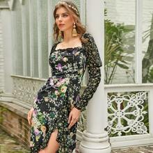 Gigot Sleeve Ruffle Hem Floral Print Dress