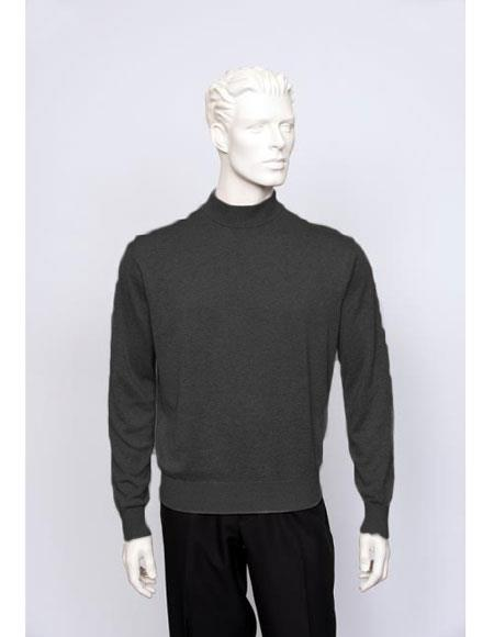 Mens Solid Silk Blend Brighton Black Long Sleeve Knit Sweater