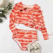 3pack Plus Tie Dye Triangle Bikini Swimsuit & Top
