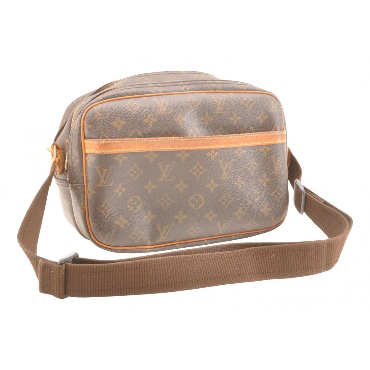 Louis Vuitton Reporter Handtasche in  Braun Leinen