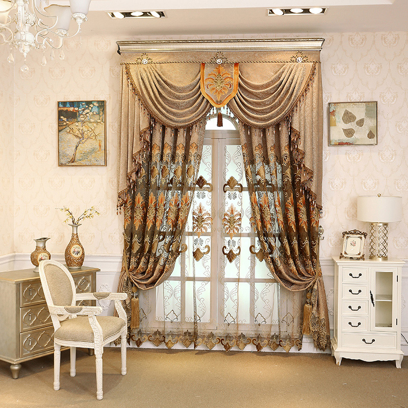 Brown Embroidery Floral Curtain Royal Drapes 2 Panels for Living Room