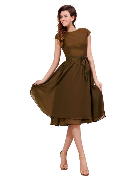 Milanoo Chiffon Cocktail Dress Brown Bow Sash Party Dress Round Neck Short Sleeve Knee Length A Line Occasion Dress wedding guest dress