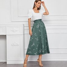 Puff Sleeve Top With Plants Print Paperbag Skirt
