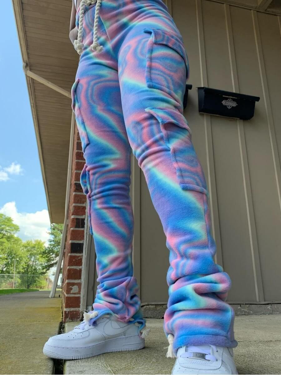 LW Lovely Street Tie-dye Side Pocket Blue Pants