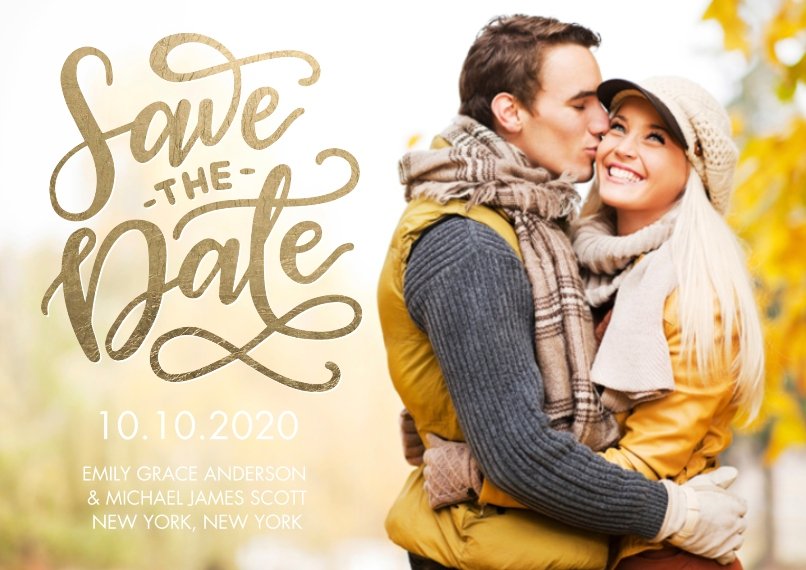 Save the Date 5x7 Cards, Premium Cardstock 120lb with Scalloped Corners, Card & Stationery -Save the Date Soft Script by Tumbalina