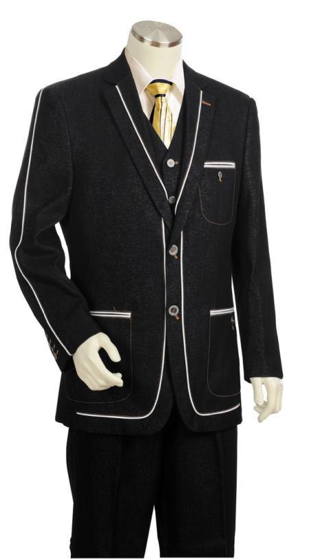 Mens Contours Denim Single Breasted Patch Pocket Zoot Suit Black