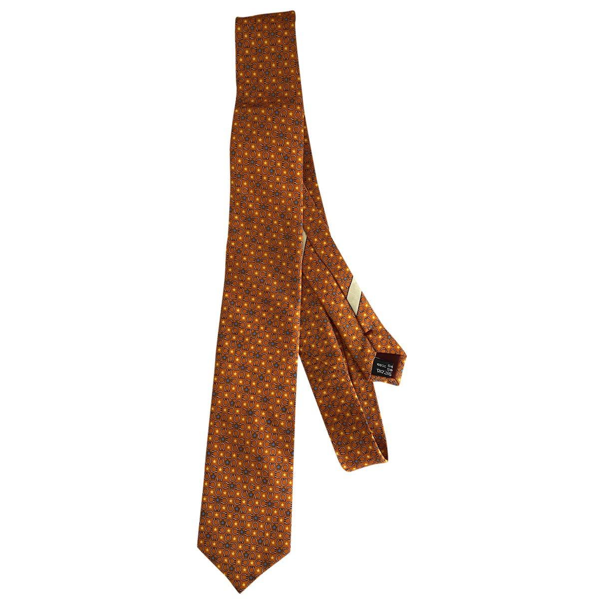 Salvatore Ferragamo \N Krawatten in  Orange Seide
