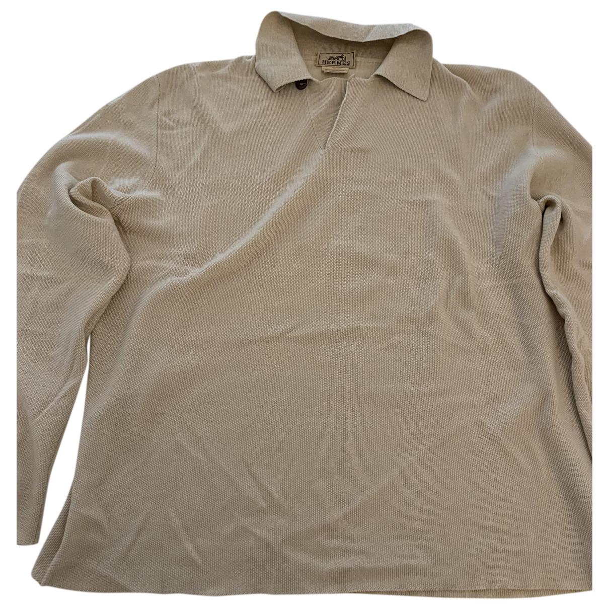 Hermes - Polos   pour homme en coton - beige