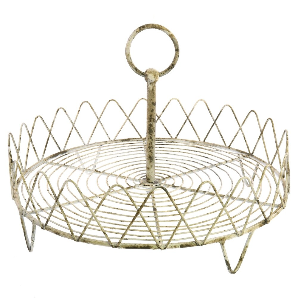 One Tier Metal Frame Wire Stand, Antique White (White)