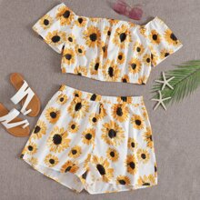 Plus Sunflower Print Bardot Top and Shorts Set