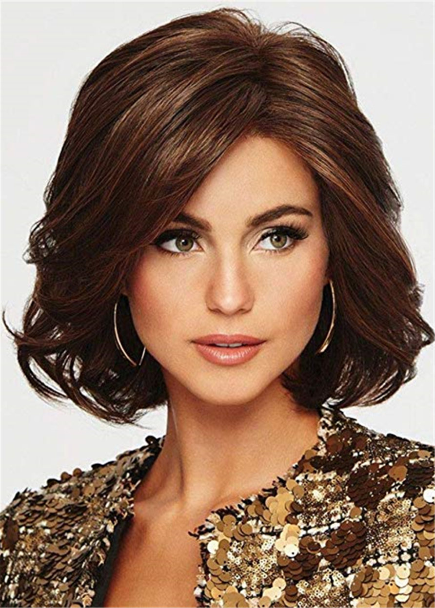 Capless Wavy Synthetic Hair Women 120% 14 Inches Wigs Heat Resistant Natural Looking Daily Party Wigs Cosplay Wigs with Natural Bangs with Free Wig Ca