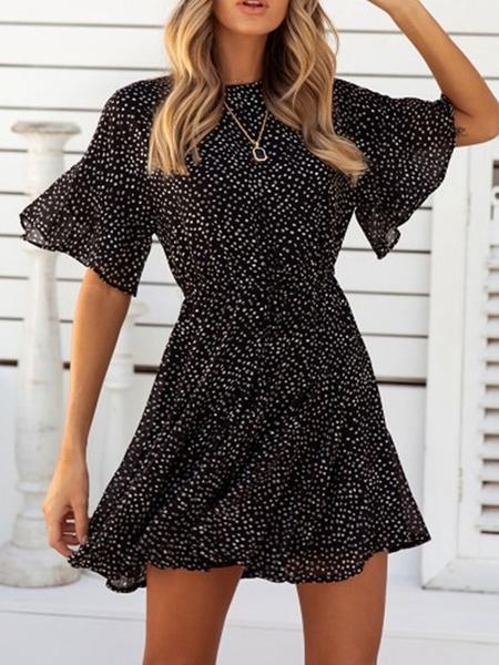 Milanoo Chiffon Summer Dress Women Jewel Neck Printed Beach Short Dress