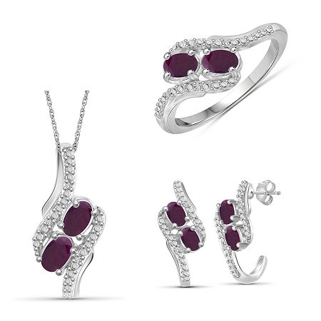 Diamond Accent Lead Glass-Filled Red Ruby Sterling Silver 3-pc. Jewelry Set, 8 , No Color Family