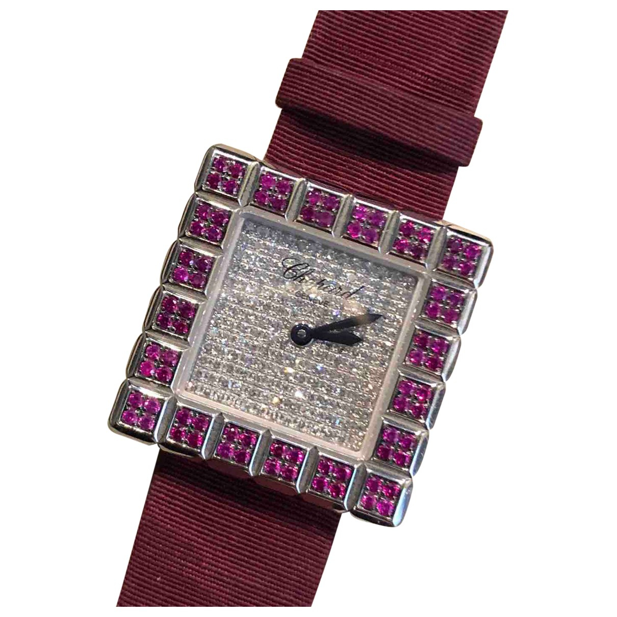 Chopard Ice Cube Uhr in  Bordeauxrot Weissgold