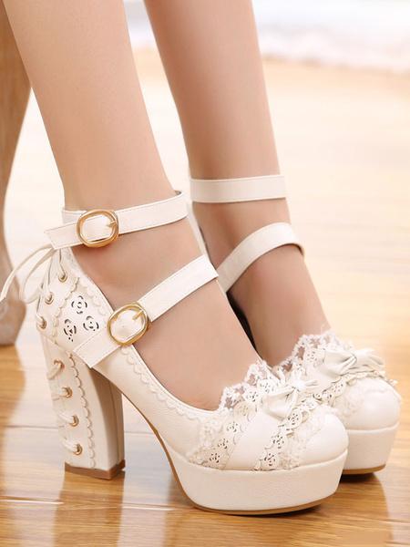 Milanoo Sweet Lolita Shoes Metallic Rivet Bow Strappy Buckle Platform Chunky High Heel Lolita Footwear