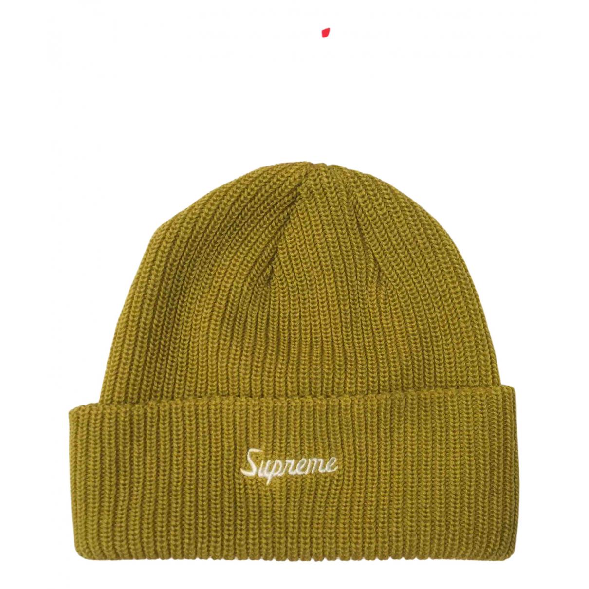 Supreme \N Hut, Muetzen in  Gelb Wolle
