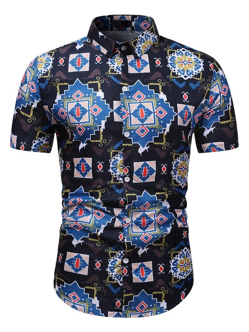 Ericdress Lapel Print Casual Summer Slim Shirt