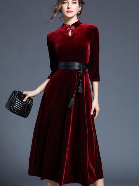 Milanoo Vestido de terciopelo de las mujeres vestido de fiesta chino vestido de cuello maxi borgoña