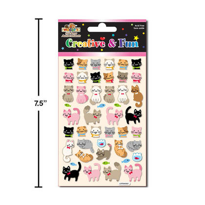 Cute Kittens Self-Adhesive Puffy Stickers for Arts & Crafts, 4