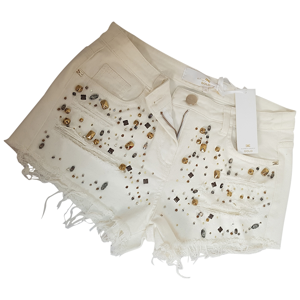 Elisabetta Franchi \N White Denim - Jeans Shorts for Women 40 IT