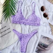Bikini Badeanzug mit Punkten Muster, Rueschenbesatz und hohem Ausschnitt