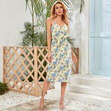 High Low Slit Hem Floral Print Cami Dress