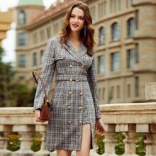 Double Button Belted Plaid Blazer Dress