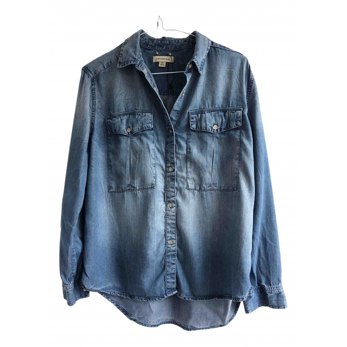 Calvin Klein - Top   pour femme en coton - bleu