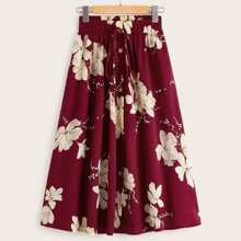 Floral Print Knot Button Front Skirt