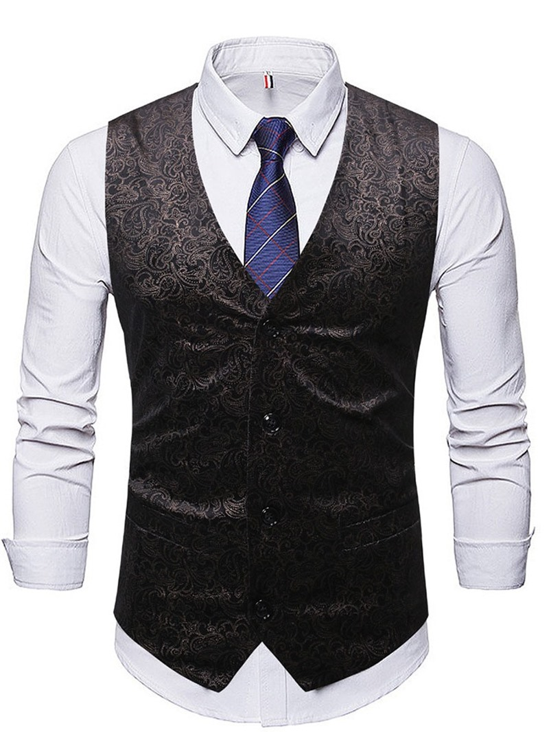 Ericdress Color Block Patchwork European Single-Breasted Men's Waistcoat