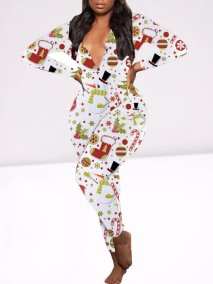 LW Lovely Christmas Day Full Print White Sleepwear