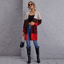 Open Front Patch Pocket Pearls Beaded Colorblock Cardigan