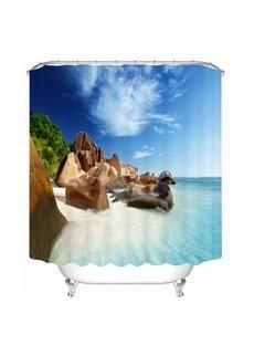 The Rock in the Beach 3D Printed Bathroom Waterproof Shower Curtain