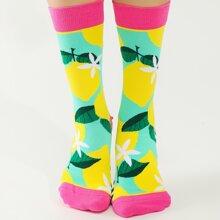 1 Paar Socken mit Zitronen Muster
