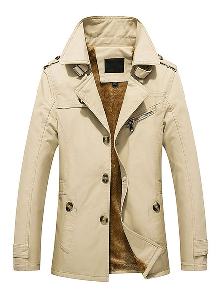 Milanoo Lined Trench Coat Men's Long Sleeve Cuff Strap Warm Winter Coat