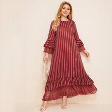 Plus Lace Insert Ruffle Trim Striped Smock Dress