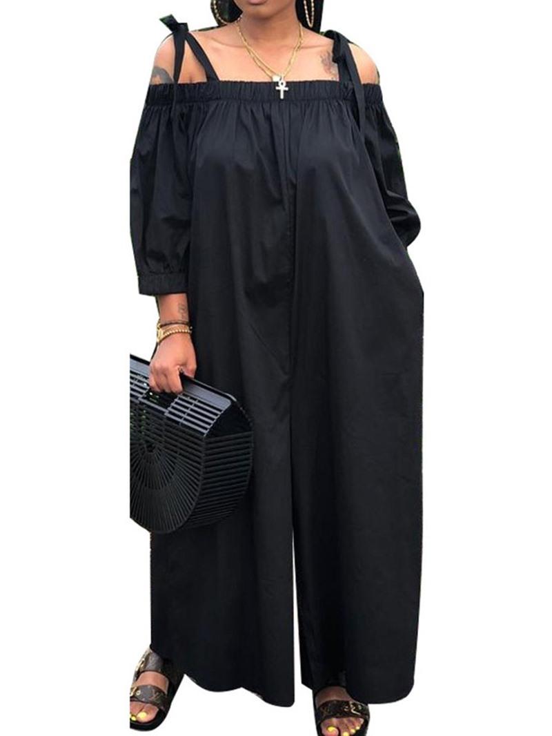Ericdress Off Shoulder Full Length Plain Lace-Up Wide Legs Loose Jumpsuit