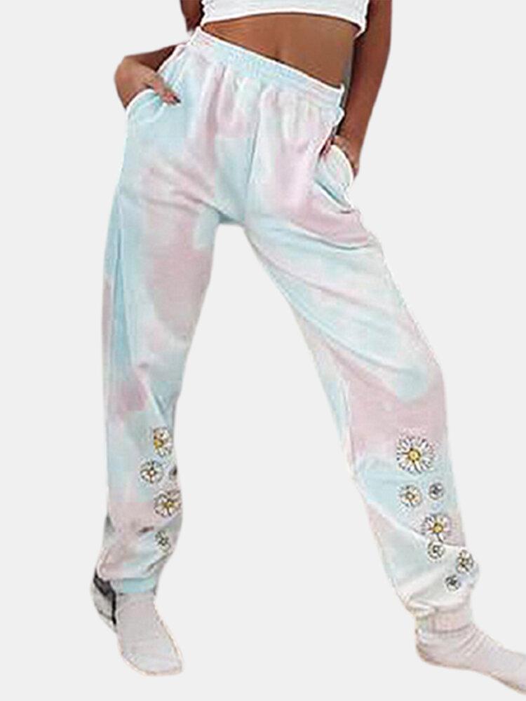 Daisy Floral Printed Tie-dye Elastic Waist Casual Pants