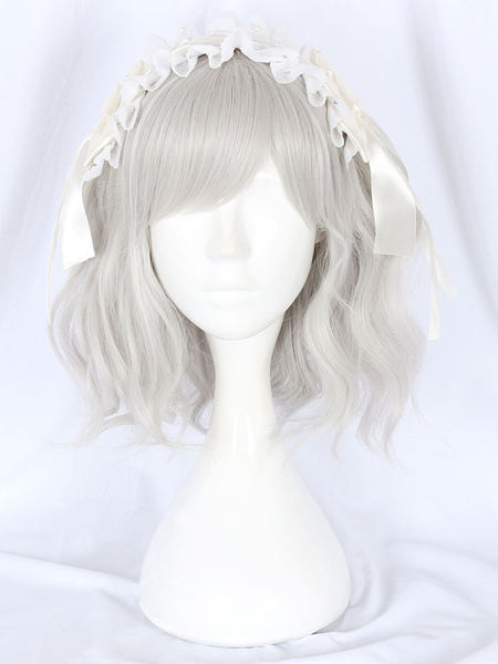 Milanoo Peluca de Lolita dulce Accesorios de Lolita con flecos de fibra gris claro