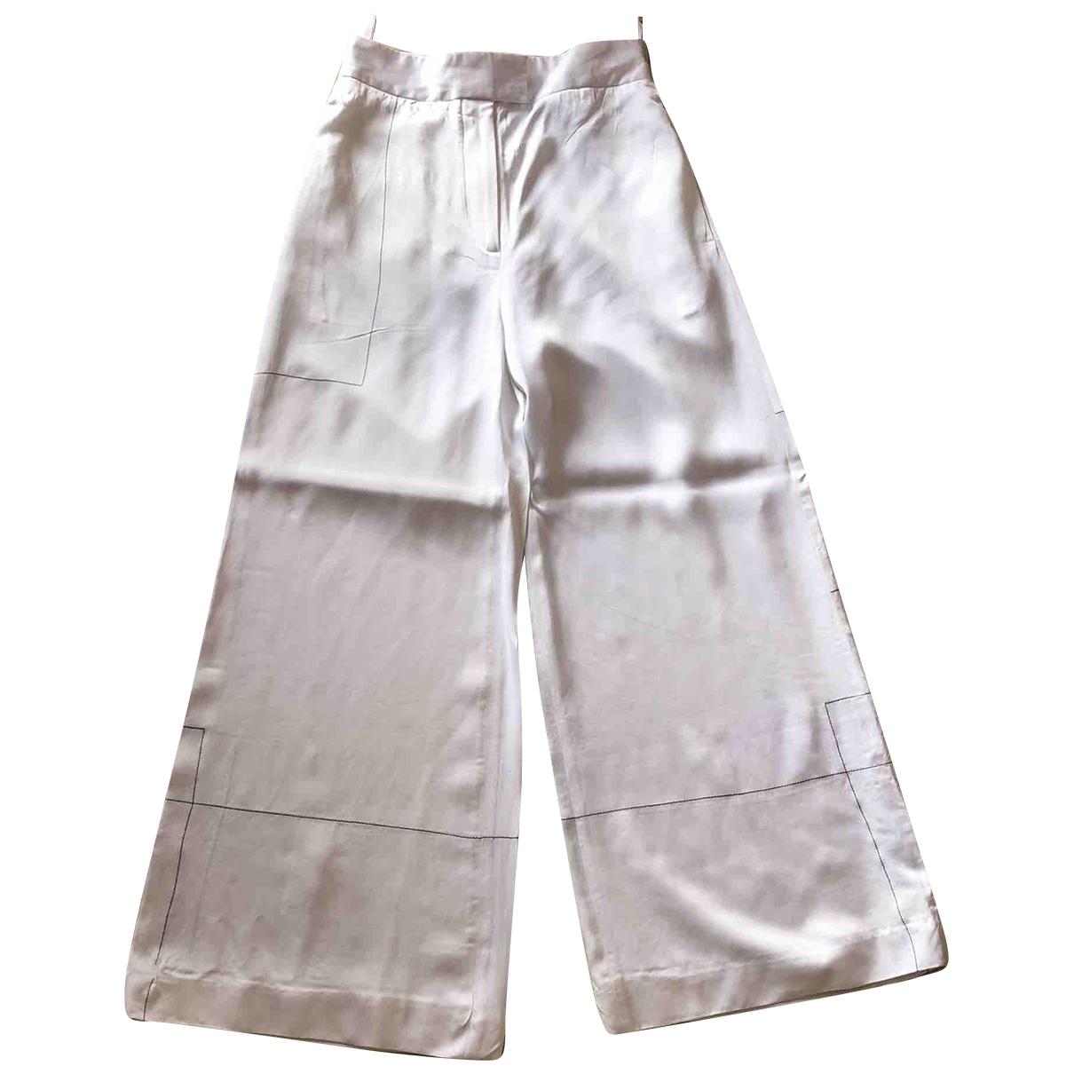 Celine \N White Trousers for Women 34 FR