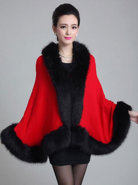 Milanoo Faux Fox Fur V-Neck Sleeveless Oversized Cape Coat For Woman