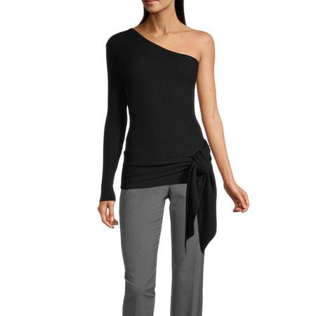 Worthington Womens Long Sleeve Pullover Sweater, Medium , Black