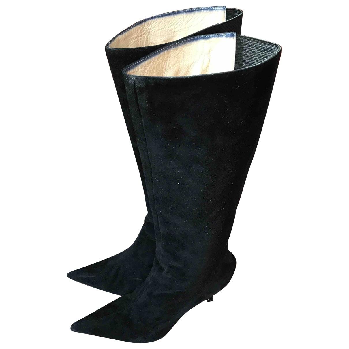 Manolo Blahnik \N Black Suede Boots for Women 39 EU