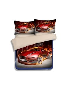 Beautiful 3D Red Supercar Print 4-Piece Polyester Duvet Cover Sets
