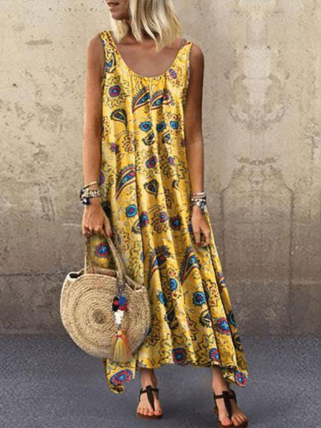 Milanoo Vestidos largos Sin mangas Cuello joya amarillo Poliester Vestido largo floral