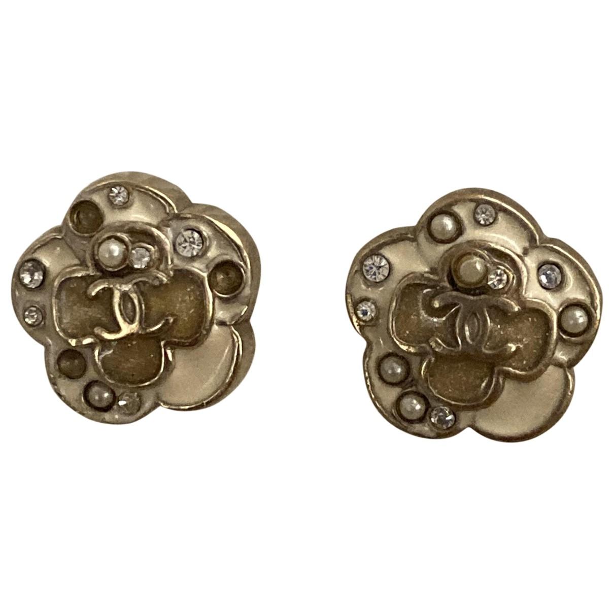 Chanel - Boucles doreilles CC pour femme en metal - beige