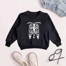 Sweatshirt mit Skelett Muster