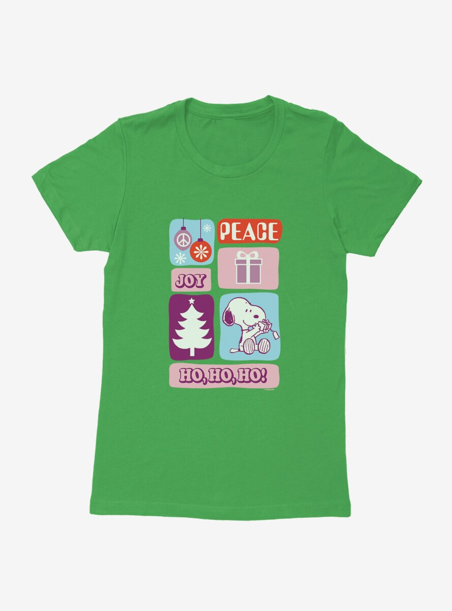 Peanuts Holiday Joy Snoopy Presents Womens T-Shirt