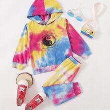 Hoodie mit Batik, Buchstaben Grafik & Jogginghose